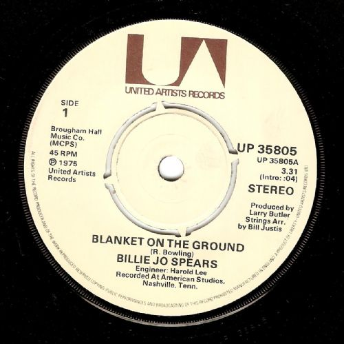 BILLIE JO SPEARS Blanket On The Ground Vinyl Record 7 Inch United Artists 1975